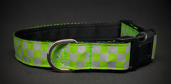 Green Chequered Reflective Dog Collar