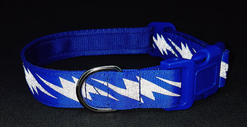 Royal Blue Lightening Bolt Reflective Dog Collar