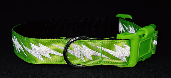Dayglow Green Lightening Bolt Reflective Dog Collar