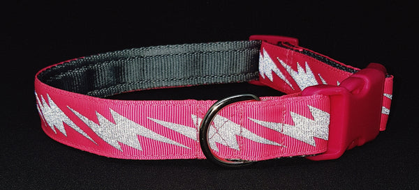 Dayglow Pink Lightening Bolt Reflective Dog Collar