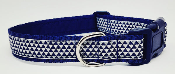 Geometric Blue Triangles Dog Collar / Lead