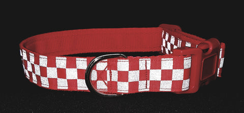 Red Chequered Reflective Dog Collar