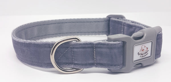 Silver/Grey Velvet Dog Collars & Leads