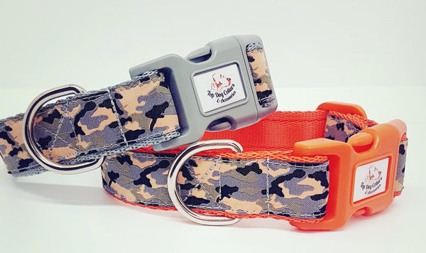 Peach, Grey & Black Camo Dog Collars & Leads