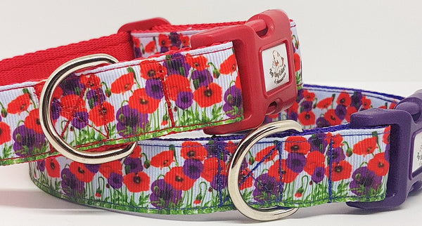 Printed Poppy Dog Collars & Leads