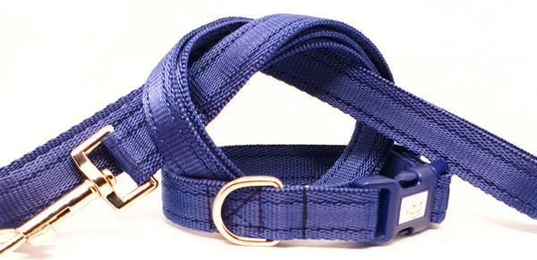 Navy Blue Plain Webbing Collars & Leads