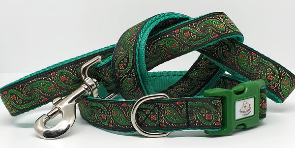 Green Paisley Dog Collars & Leads