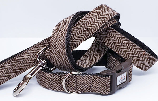 Brown Herringbone Dog Collars & Leads