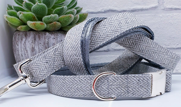 Grey Herringbone Dog Collars & Leads