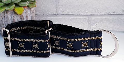 "Black & Gold Scroll 2"" wide Collars"