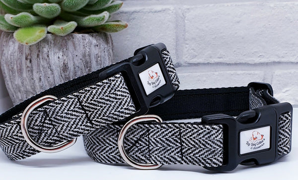Black & White Herringbone Dog Collars & Leads
