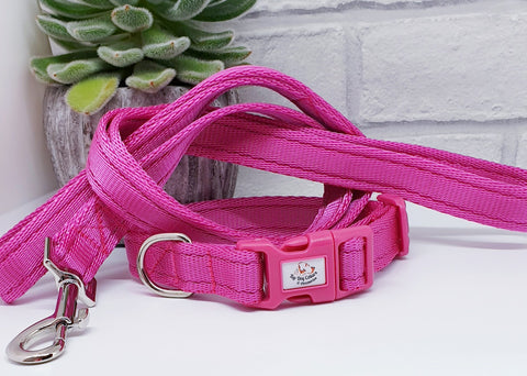 Hot Pink Plain Webbing Collars & Leads