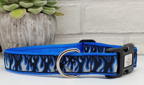Blue Flames Dog Collars & Leads