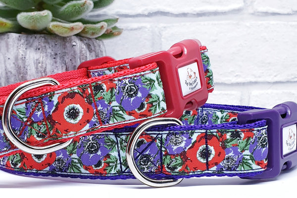 Woven ribbon Purple & Red Poppies Dog Collars & Leads