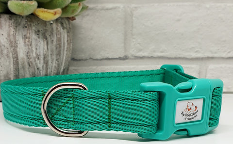 Emerald Green Plain Webbing Collars & Leads