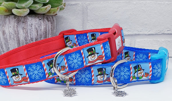 Cheerful Snowman Dog Collar
