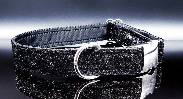 Black Sparkle Dog Collars & Leads