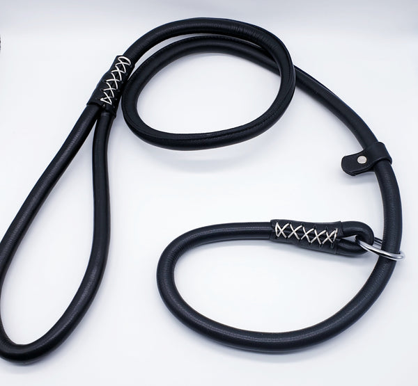 Black Rolled Leather Slip Lead