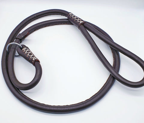 Rich Brown Rolled Leather Slip Lead