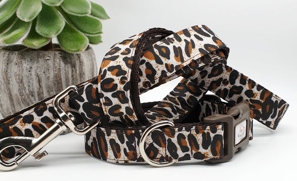 Brown Leopard Print Dog Collars & Leads