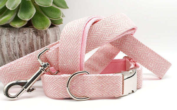 Pink Herringbone Dog Collars & Leads