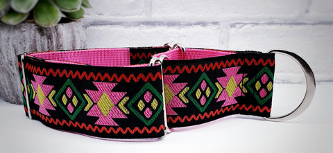 "Pink Aztec pattern 2"" Wide Collars"