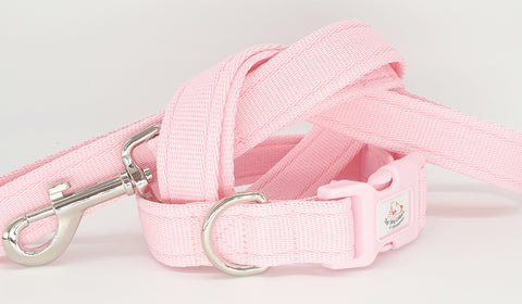 Pale Pink Plain Webbing Collars & Leads