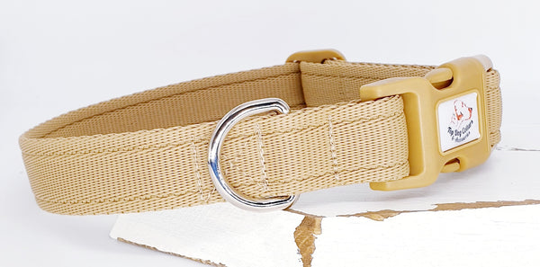 Beige Plain Webbing Collars & Leads