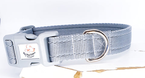 Silver Grey Plain Webbing Collars & Leads