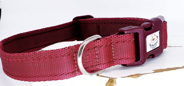 Wine Plain Webbing Collars & Leads