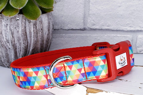 Kaleidoscope rainbow printed ribbon Collars & Leads