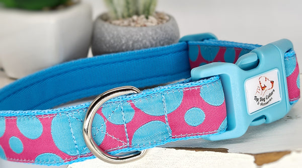 Sky Blue Spots Dog Collars & Leads