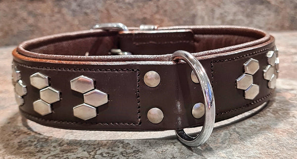 Heavy Duty padded Stud detail Leather Collars