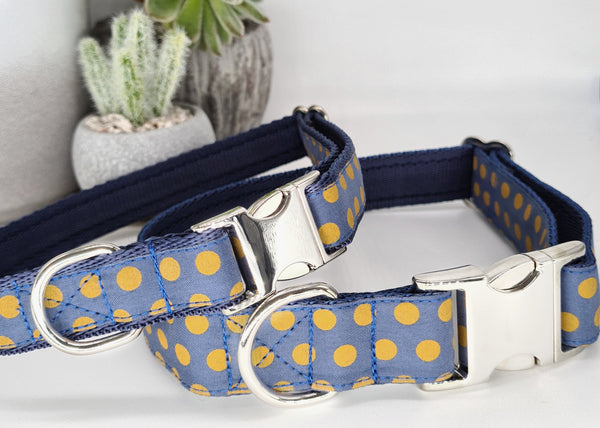 Dusky Blue with Mustard spots Collars & Leads