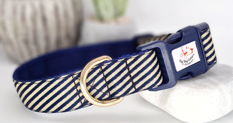 Navy & Gold Stripes Collars & Leads