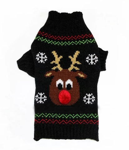 Black Reindeer knitted Christmas Dog Jumpers