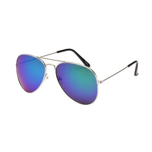 Aviator Polarized Sunglasses Blue Lenses Silver Frame,Silver