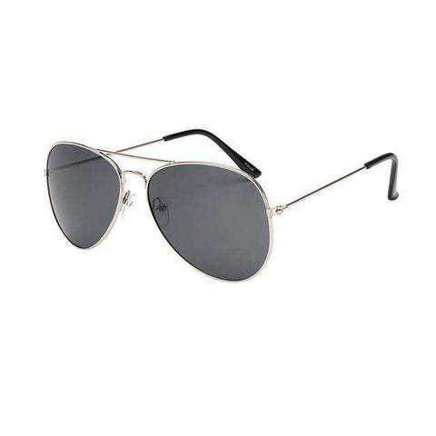 Aviator Polarized Sunglasses Charcoal Lenses Silver Frame,Silver