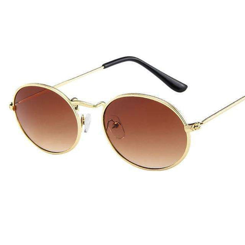 Oval Ellipse Sunglasses Amber Lenses Gold Frame,Default Title