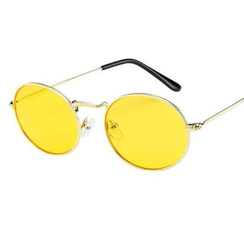 Oval Ellipse Sunglasses Yellow Lenses Gold Frame,Default Title