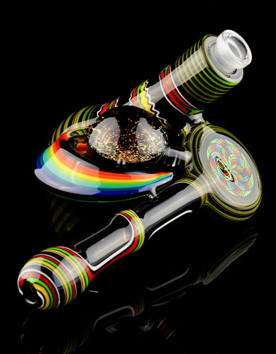 Kevin Murray Rasta Lay-Down Bubbler with Sacred Geo Cab and Dichro Marble
