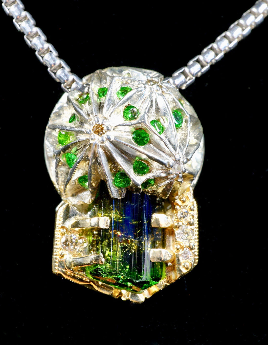 Ayala Artifacts Green Tourmaline, Tsavorite and Diamond Pendant + Chain