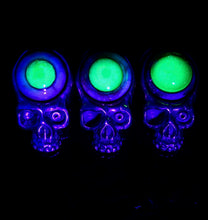 Aquarius Silver and Brass UV Eyeball Skull Pendants