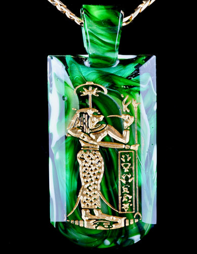 Green T Glass Experimental Green Seshat Tablet Pendant