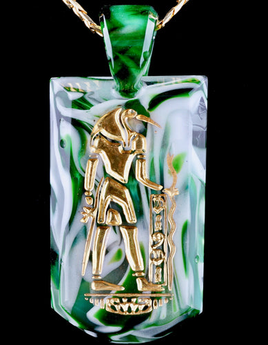 Green T Glass Experimental Green Thoth Tablet Pendant