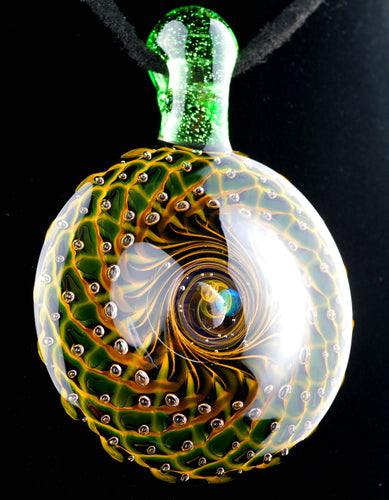 Bashaw Fumicello Bubble Trap Pendant with Green Stardust Bail