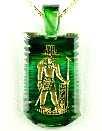 Green T Glass Experimental Green Sobek Tablet Pendant