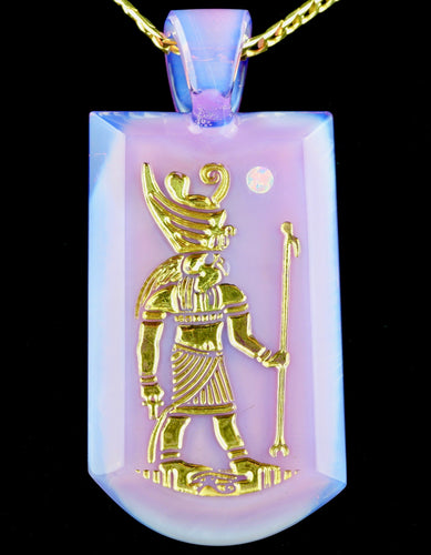 Green T Glass CFL Mirage Horus Opal Tablet Pendant