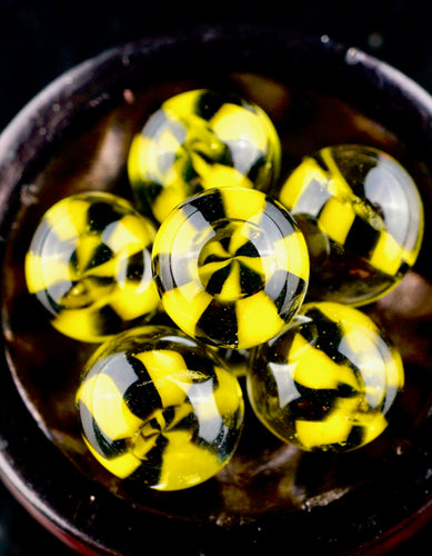 ID Glass Black and Yellow Pinwheel Terp Pearls (Pair)