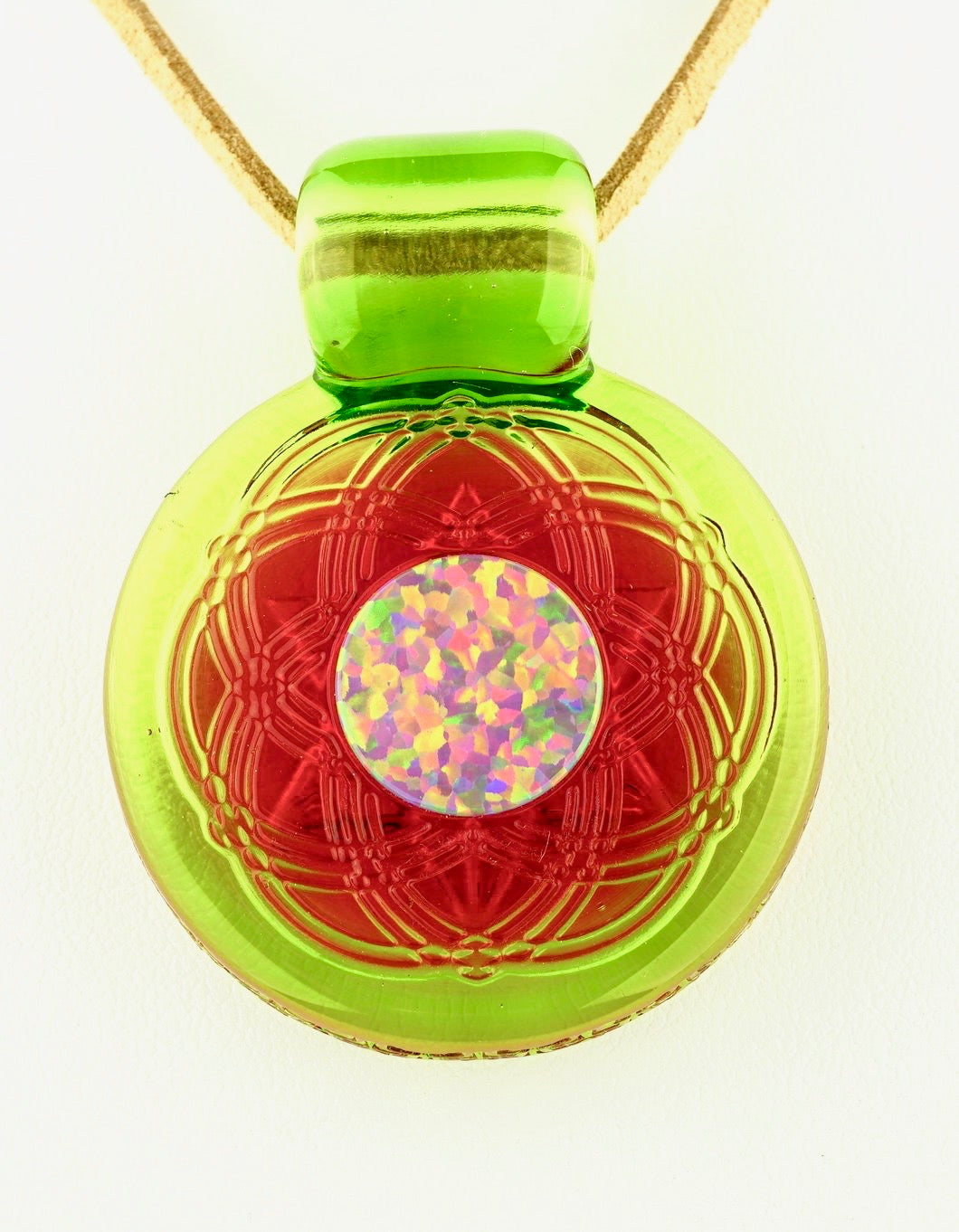 Glassmaze Transparent Seed of Life Mandala Pendant with 15mm Opal